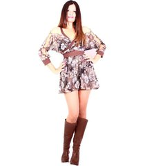 vestido estampado manga abierta sarab/vy-004cb brown