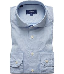 men's eton soft casual line slim fit cotton & silk shirt, size 17.5 - blue