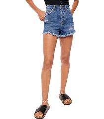 women's free people curvy high waist denim shorts, size 29 - blue