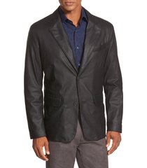 men's remy leather 'lite' button blazer, size 38r - black