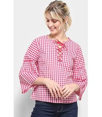 blusa top moda bata xadrez amarração feminina