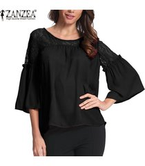 zanzea mujer lace up crochet evening party ladies tops blusa suelta camisa tallas grandes -negro
