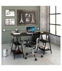 mesa de escritório kuadra iii preta 150 cm