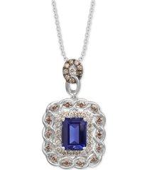"""le vian blueberry tanzanite (2 ct. t.w.) & diamond (3/4 ct. t.w.) 18"""" pendant necklace in 14k white gold"""