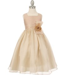 champagne two tone organza square neck matching corsage party flower girl dress