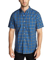 nautica men's classic-fit blue sail casual plaid short sleeve shirt, created for macy's