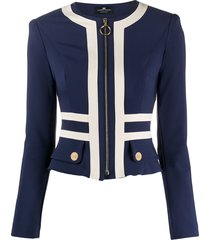 elisabetta franchi structured shoulder stripe detail jacket - blue
