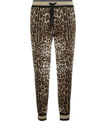 dolce & gabbana animalier print drawstring waist track pants
