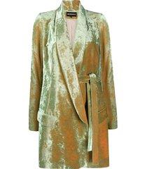 ann demeulemeester mid-length velvet coat - green
