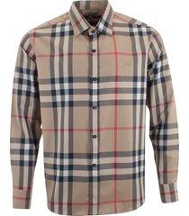 burberry brit men's long sleeve 100% cotton dress shirt beige camel size m