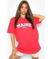 oversized maine slogan boyfriend t-shirt, red