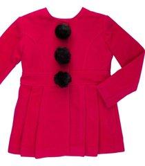 casaco lã com pompom removível gingga baby e kids pink lara