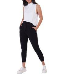 black tape petite sleeveless mock-neck knit top