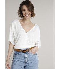 blusa feminina ampla transpassada com amarração manga curta decote v branca