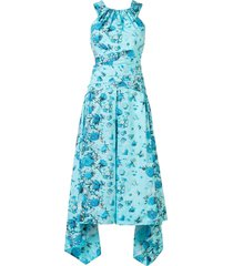 peter pilotto halterneck midi dress - blue