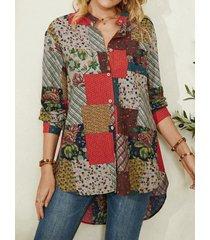 camicetta casual da donna con orlo curvo con bottoni patchwork stampa etnica vintage