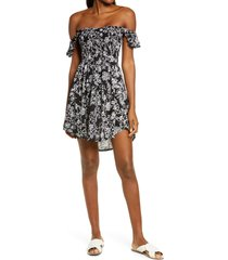 women's tiare hawaii hollie off the shoulder cover-up dress, size one size - black
