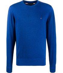 tommy hilfiger embroidered logo pullover - blue