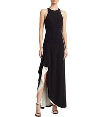 ruched crepe sleeveless draped gown
