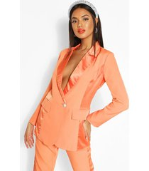 satin panel tailored blazer, orange