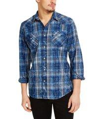 sun + stone men's carlos regular-fit plaid shirt, created for macy's