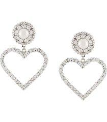 alessandra rich oversized heart earrings - silver