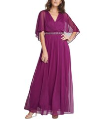 jessica howard petite beaded faux-cape gown