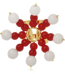 anel le diamond flor de resinas vermelho