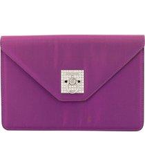 céline pre-owned logos rhinestone clutch hand bag - purple