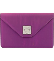 céline pre-owned logos rhinestone clutch hand bag - purple