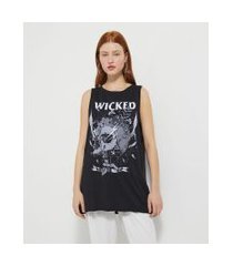 blusa regata alongada estampa caveira wicked | blue steel | preto | g