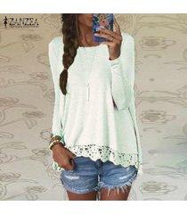 zanzea mujer de encaje de ganchillo manga larga casual tops holgada blusa de la camisa pullover -blanquecino