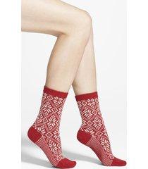 women's smartwool snowflake pattern crew socks, size large - red