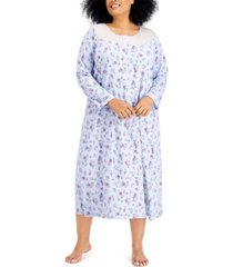 charter club plus size cotton brushed knit nightgown, created for macy's