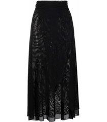 fisico mesh sarong skirt - black