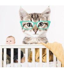 kot w miętowych okularach - naklejka na ścianę