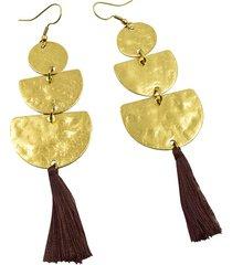 aretes de mujer oro lune tassel semibattuti brass colection by vestopazzo