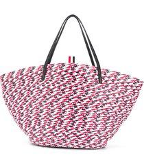 thom browne rwb braided tote bag - red