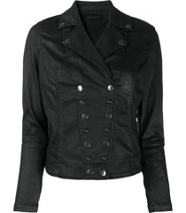 diesel press stud fastened biker jacket - black