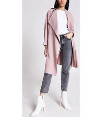 river island womens light pink longline duster jacket