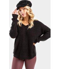 cleo twist back sweater - black