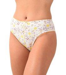calcinha estilo tangão vip lingerie em cotton estampado amarelo