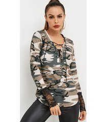 camo v-neck lace-up front long sleeved with lace hem top