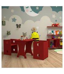 conjunto de mesa quadrada infantil com 2 bancos   banquetas kitcubos vermelho