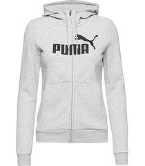 ess logo hooded jacket fl hoodie grå puma