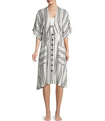 striped tie-front cover-up