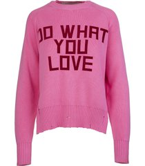 golden goose woman delilah pink sweater with front print