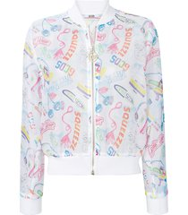 gcds printed semi-sheer bomber jacket - white