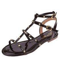 sandália rasteira rosa chic calçados tachas gladiadora spike preta