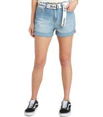 dickies juniors' belted roll-cuff denim shorts